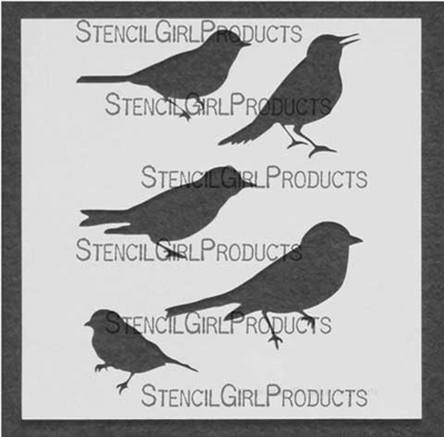 Song Birds Stencil by Tracie Lyn Huskamp