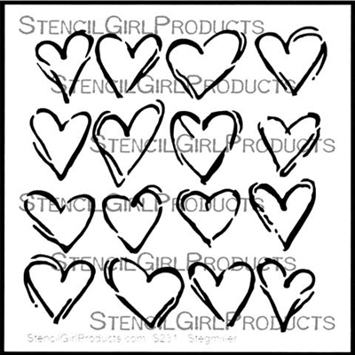 Inky Hearts Stencil by Terri Stegmiller