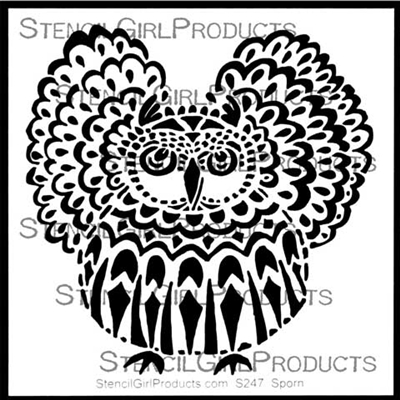 Horned Owl Stencil by Jessica Sporn