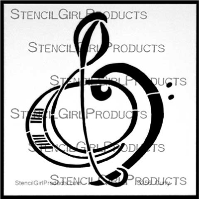 Treble Bass Clef Stencil by Nancy Curry