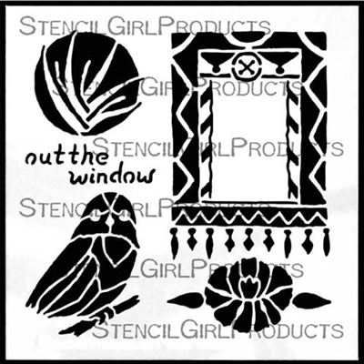 Out the Window Stencil by Roxanne Evans Stout