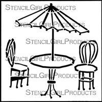 Bistro Table and Chairs Stencil by Angela Cartwright