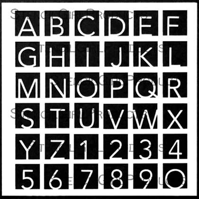 Hip to Be Square Alphabet Small Stencil by Carolyn Dube