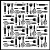 Baking Utensil Repeat Stencil by June Pfaff Daley