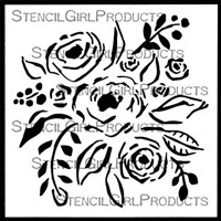 Rose Bouquet Stencil by Jennifer Evans