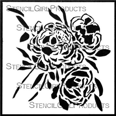 Peony Blooms Stencil by Wendy Brightbill