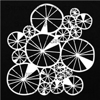 Spoked Wheels Collage Mask by Jennifer Evans