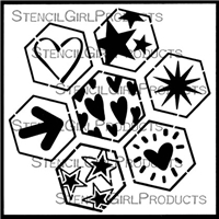 Geo Hex Hearts & Stars Stencil by Cat Kerr