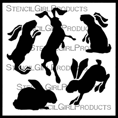 Bunnies in Motion Small Stencil by Lanie Frick