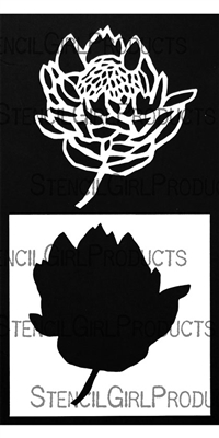 Protea Mask with Stencil Outline by Wendy Brightbill