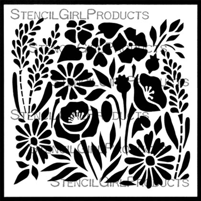 Garden Flowers Tile Stencil Small by Valerie Sjodin