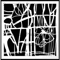 Abstract Botanical Grid Stencil by Jennifer Evans